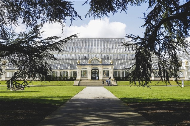 External view of the front of Princess of Wales Conservatory at Kew Gardens
