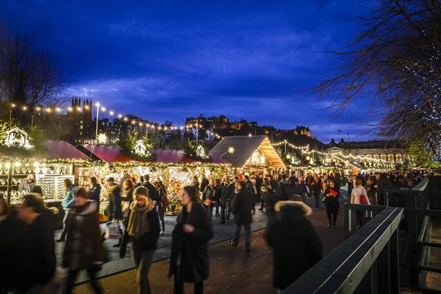 Edinburgh Christmas Markets at Dusk