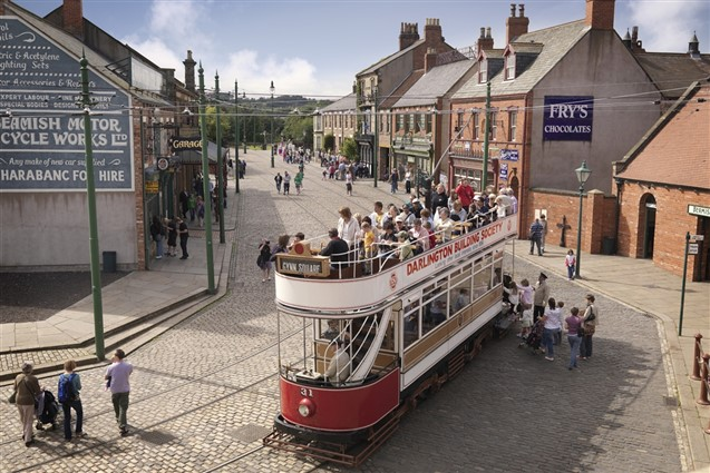 A Tram in the Main Street of the Opean Air Beamish Museum
