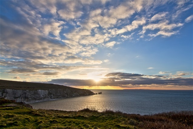 Sunset view over the sea from the Needles Isle of Wight