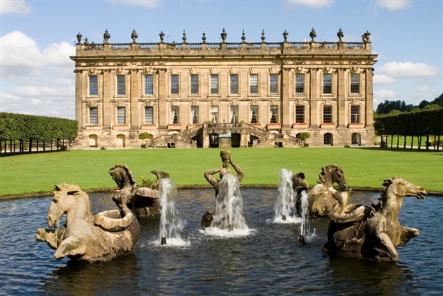 Chatsworth House with Water Fountain infront