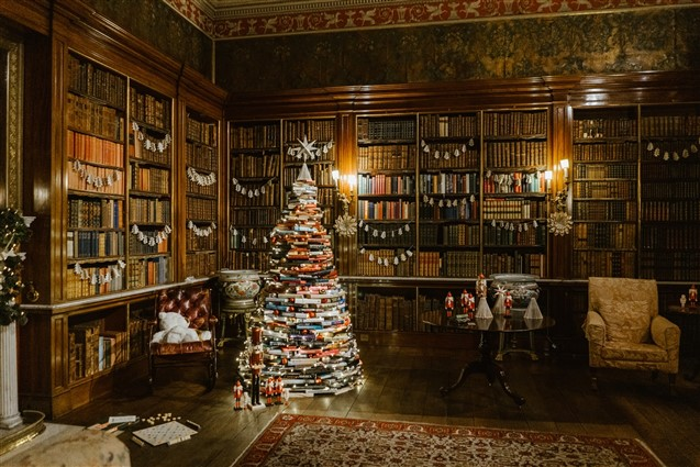 Christmas Tree made from old books at Harewood House