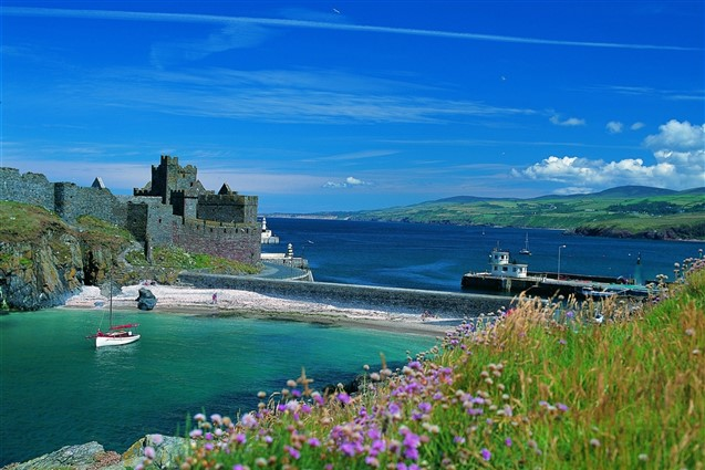 A view of Peel Castle and Harbour on the Isle of Man